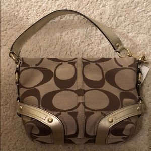COACH Small Carly Signature Top Handle Hobo Bag